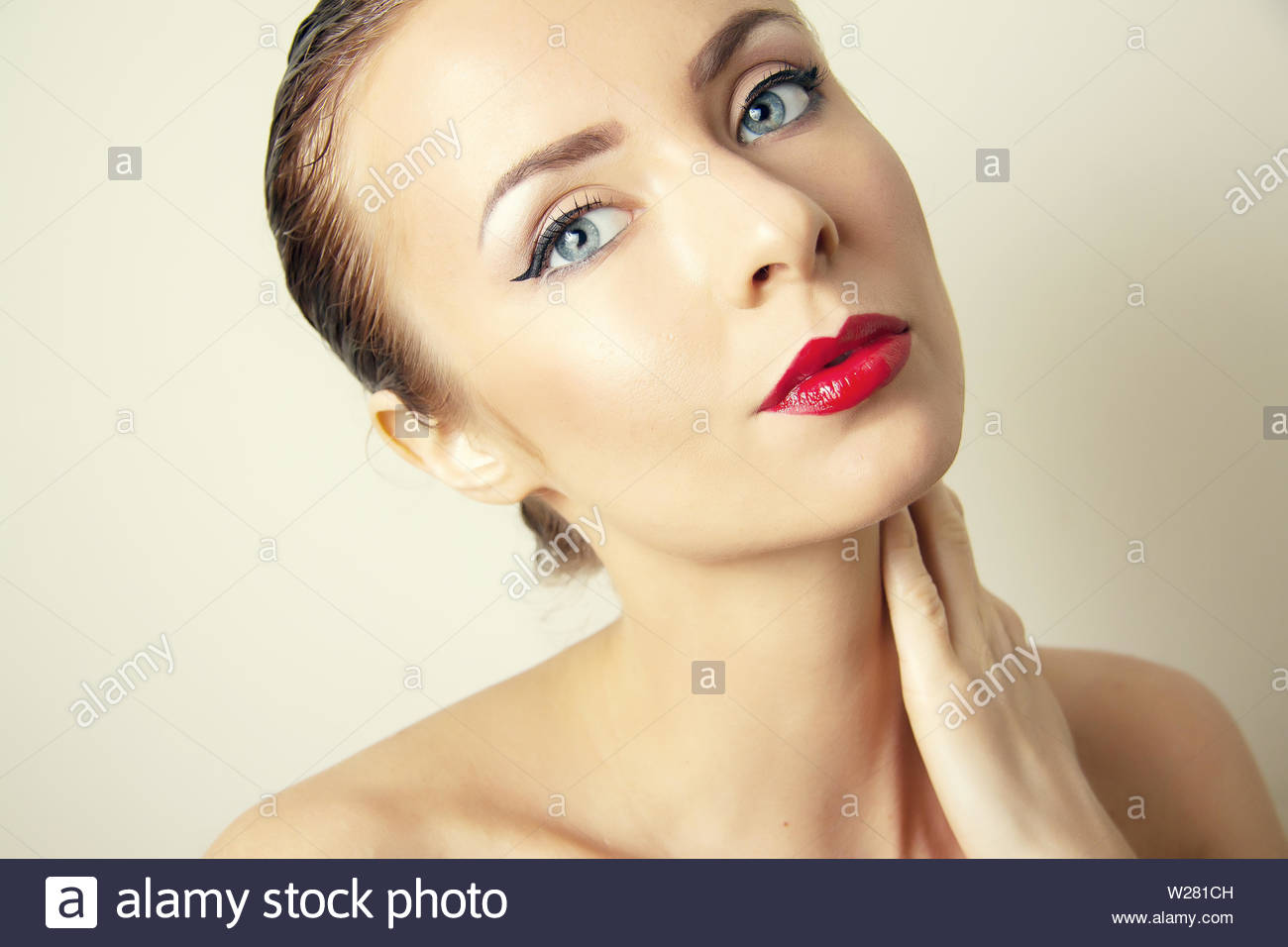 aging problems  of face skin - Stock Image