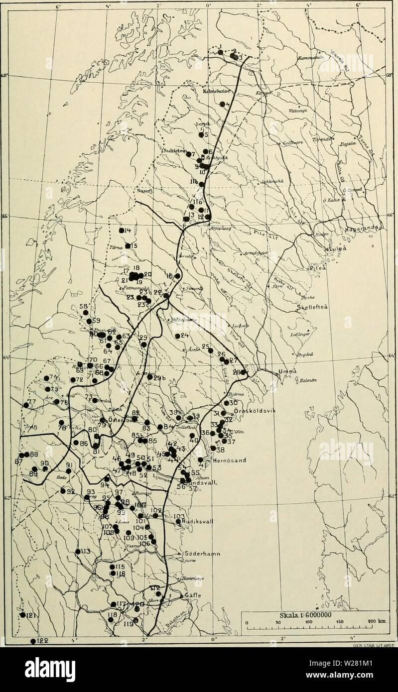 Archive image from page 340 of Den norrländska florans  geografiska. Den norrländska florans : geografiska fördelning och invandringshistoria ; med särskild hänsyn till dess sydskandinaviskar arter  dennorrlndskaf00ande Year: 1912  KARTOR OCH STà NDORTER 325 Kartan i. Sydbergens läge.    à kartan äro utom samtliga sydberg äfven inlagda isdelaren ( ) samt gränserna (ââ ) för de olika omrÃ¥den, i hvilka Norrland med hänsyn till sambandet mellan topografi och växtgeografi ofvan s. 36 uppdelats. Jfr äfven texten s. 72. Stock Photo