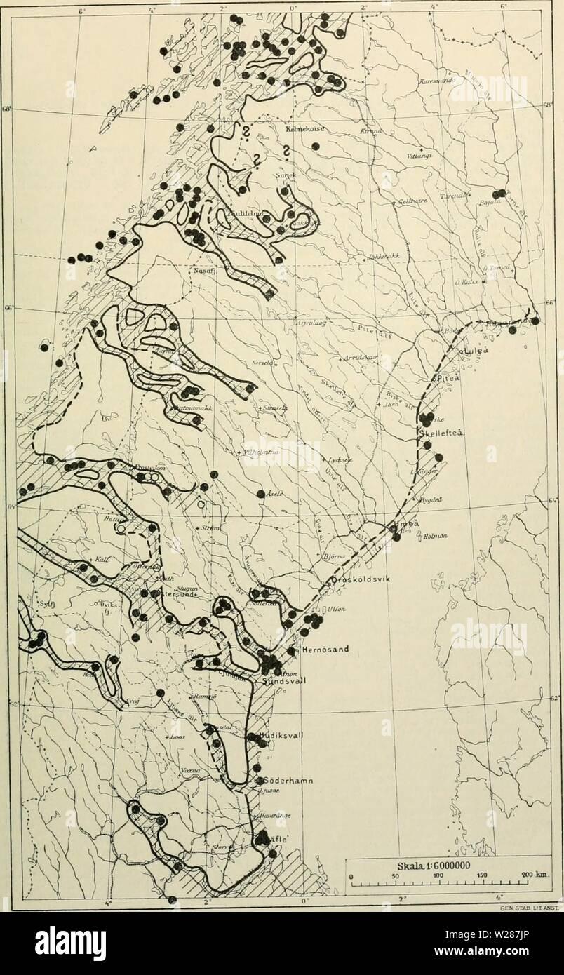 Archive image from page 378 of Den norrländska florans  geografiska. Den norrländska florans : geografiska fördelning och invandringshistoria ; med särskild hänsyn till dess sydskandinaviskar arter  dennorrlndskaf00ande Year: 1912  KARTOR OCH STà NDORTER 363 Kartan 21. Erysimum hieraciifolium.    I Norge uppgifves arten utom Ã¥ de inlagda lokalerna sÃ¥som allm. för RÃ¥nen och gÃ¥r mot norr till finska gränsen. Stock Photo