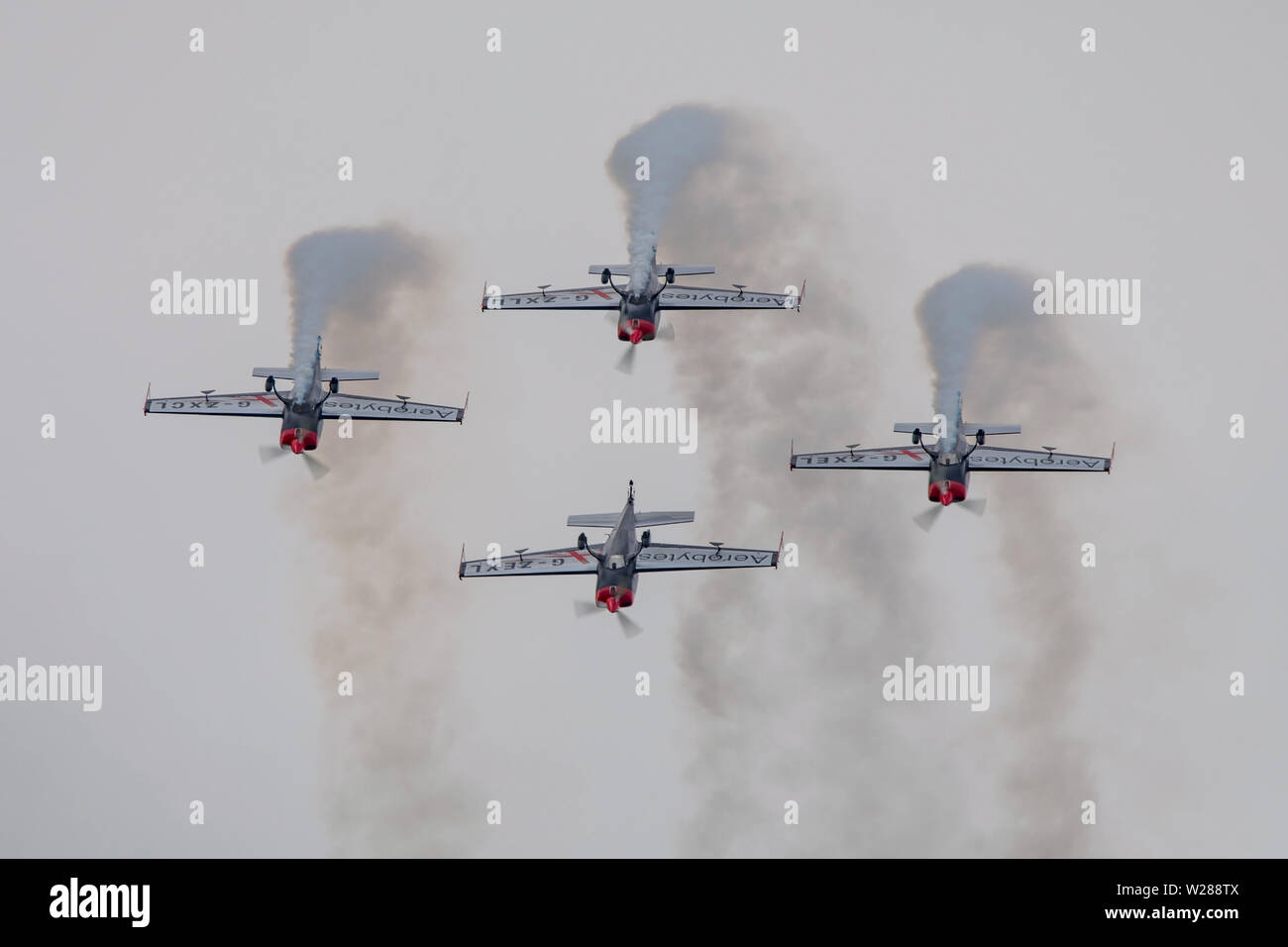 The Blades Aerobatic Display Team performing at the last Wings & Wheels airshow to be held at Dunsfold Aerodrome, UK on the 16th June 2019. Stock Photo