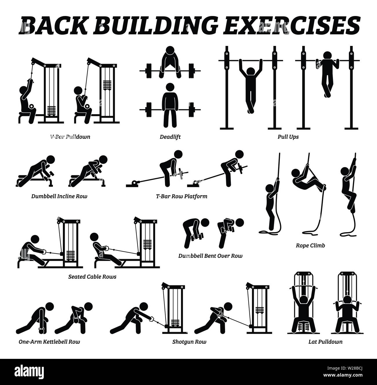 Back Building Exercises And Muscle Building Stick Figure Pictograms Artworks Depict A Set Of Weight Training Reps Workout For Back Muscle By Gym Mach Stock Vector Image Art Alamy