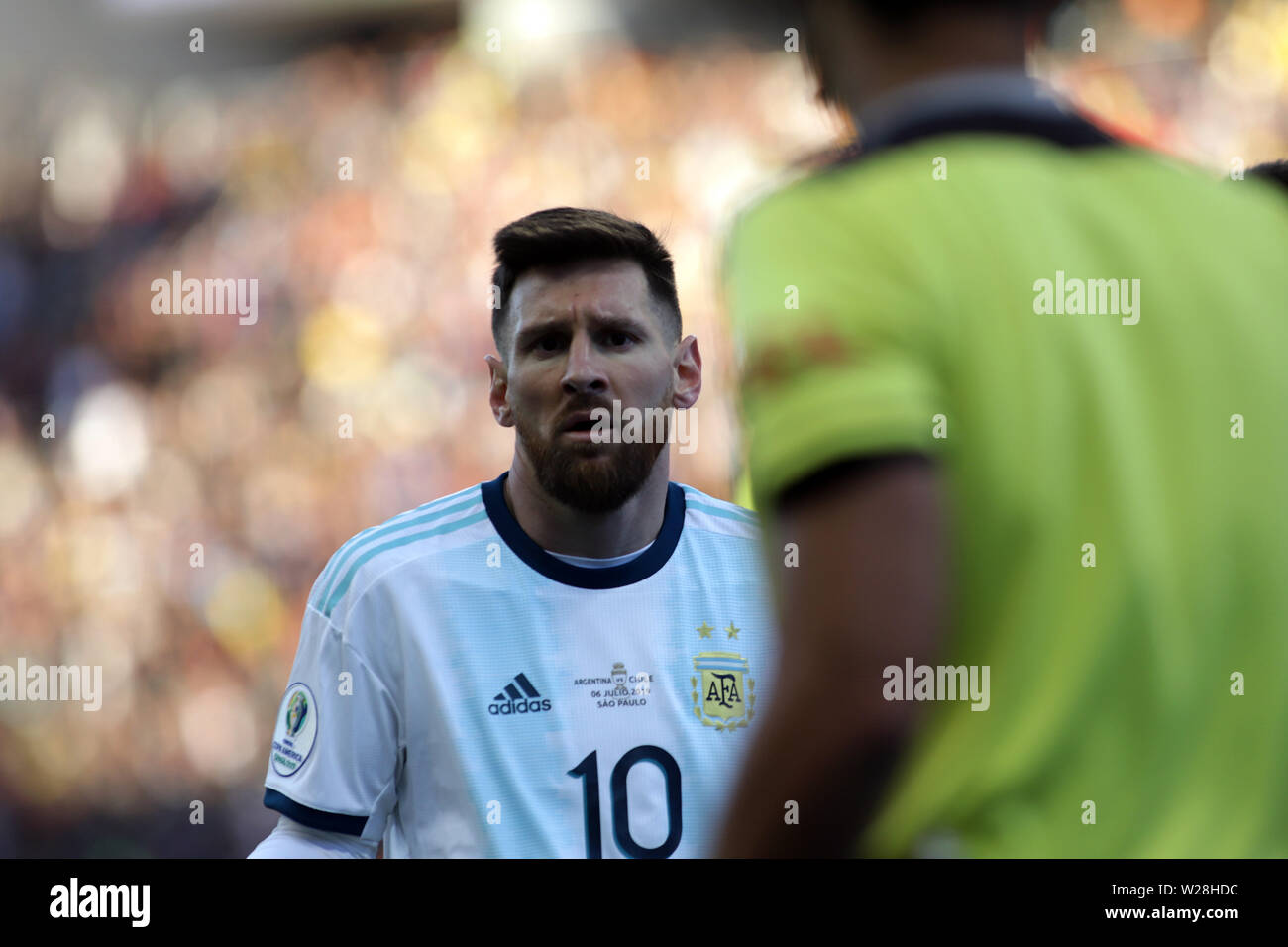 Sao Paulo, Brazil. 6th July, 2019. Argentina's Lionel Messi reacts after he recieved a red card during the 3rd place match of Copa America 2019 between Argentina and Chile in Sao Paulo, Brazil, July 6, 2019. Credit: Rahel Patrasso/Xinhua/Alamy Live News - Stock Image