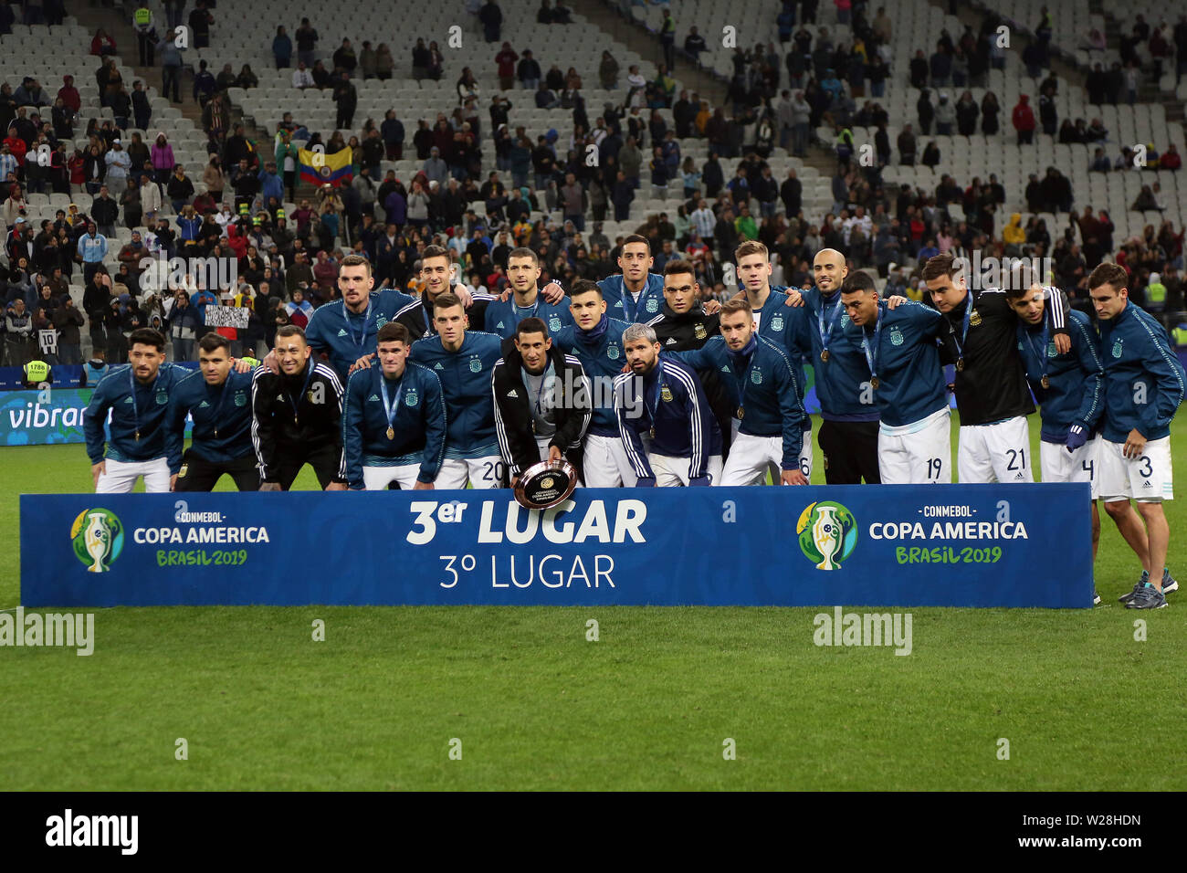 Sao Paulo, Brazil. 6th July, 2019. Argentina's players pose with their bronze medals after the 3rd place match of Copa America 2019 between Argentina and Chile in Sao Paulo, Brazil, July 6, 2019. Credit: Rahel Patrasso/Xinhua/Alamy Live News - Stock Image