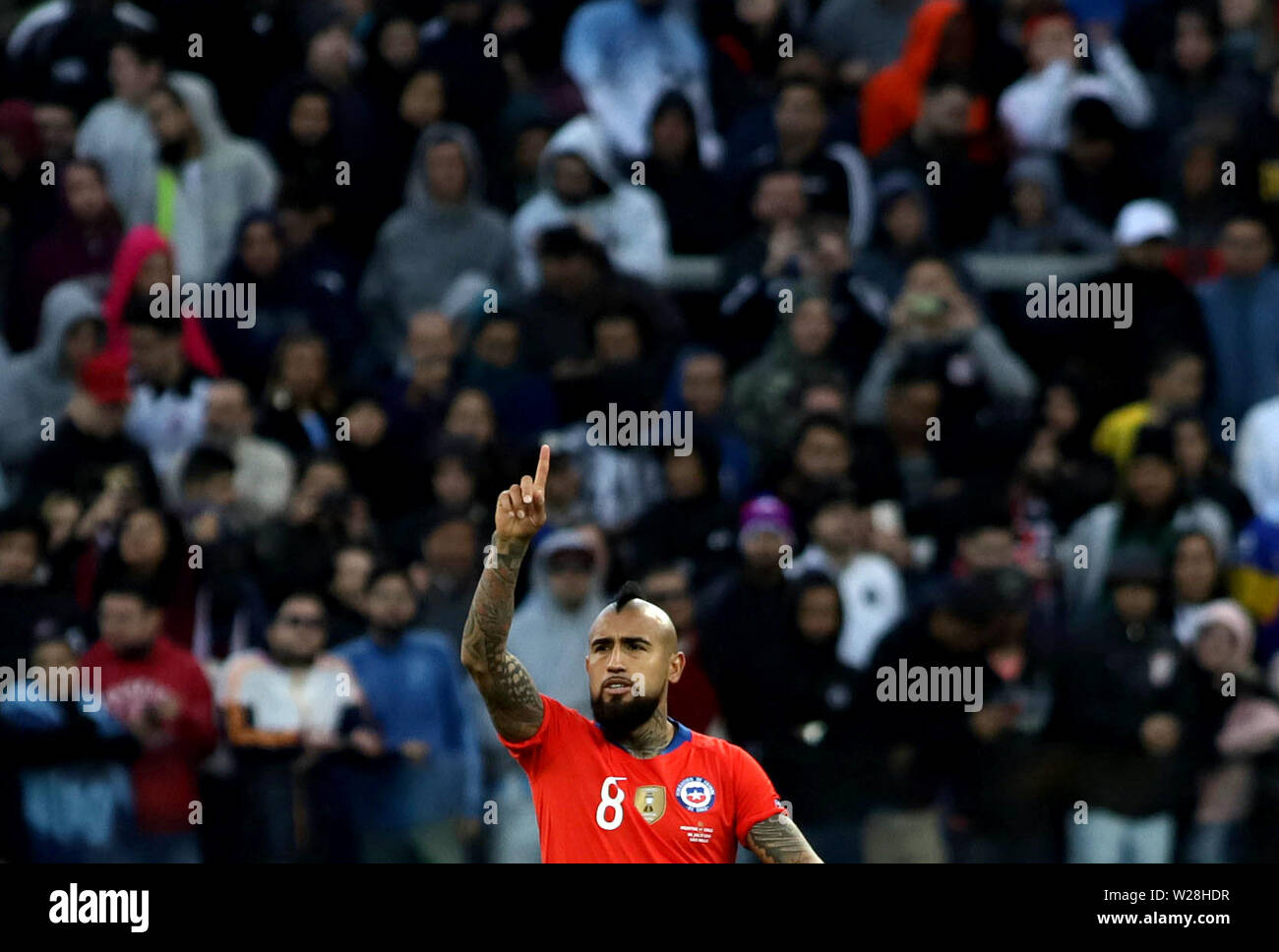 Sao Paulo, Brazil. 6th July, 2019. Chile's Arturo Vidal celebrates after scoring during the 3rd place match of Copa America 2019 between Argentina and Chile in Sao Paulo, Brazil, July 6, 2019. Credit: Rahel Patrasso/Xinhua/Alamy Live News - Stock Image