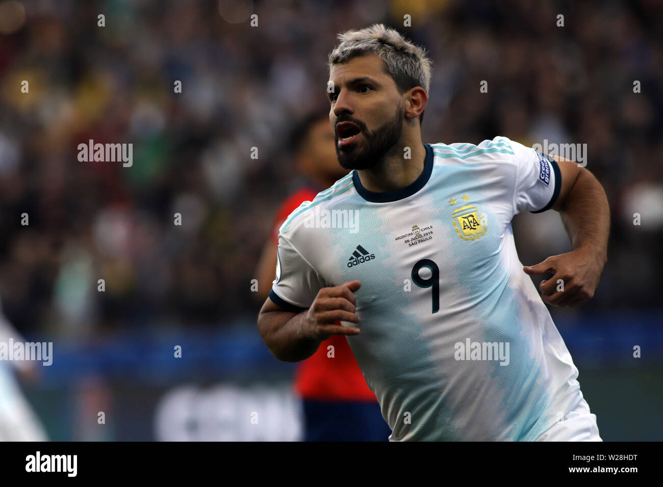 Sao Paulo, Brazil. 6th July, 2019. Argentina's Aguero celebrates scoring during the 3rd place match of Copa America 2019 between Argentina and Chile in Sao Paulo, Brazil, July 6, 2019. Credit: Rahel Patrasso/Xinhua/Alamy Live News - Stock Image