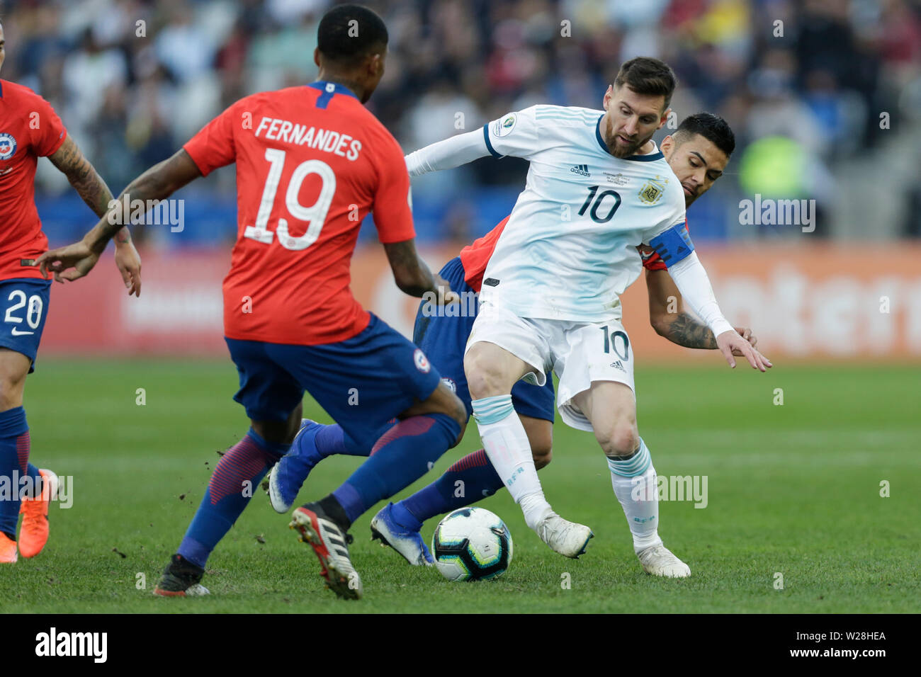 Sao Paulo, Brazil. 6th July, 2019. Argentina's Lionel Messi (C) competes during the 3rd place match of Copa America 2019 between Argentina and Chile in Sao Paulo, Brazil, July 6, 2019. Credit: Francisco Canedo/Xinhua/Alamy Live News - Stock Image