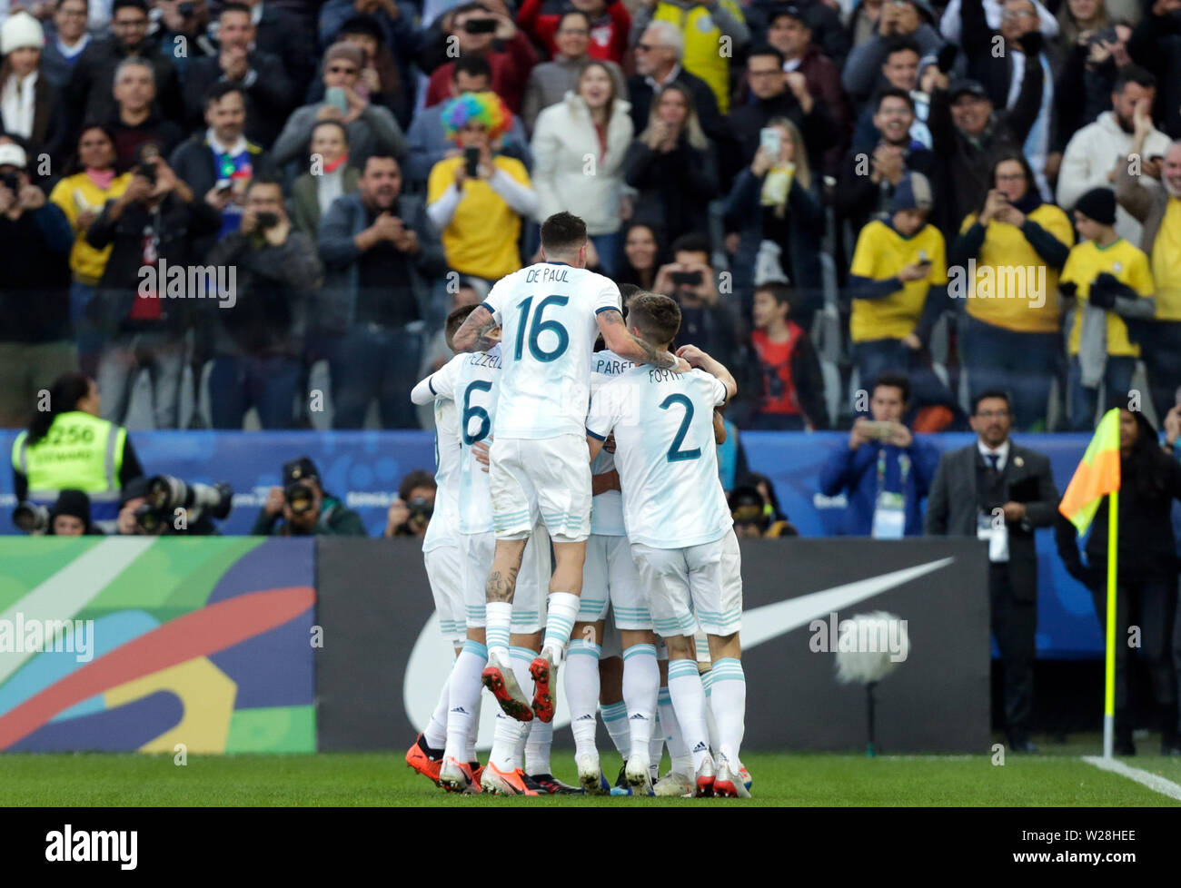 Sao Paulo, Brazil. 6th July, 2019. Argentina's players celebrate a goal during the 3rd place match of Copa America 2019 between Argentina and Chile in Sao Paulo, Brazil, July 6, 2019. Credit: Francisco Canedo/Xinhua/Alamy Live News - Stock Image
