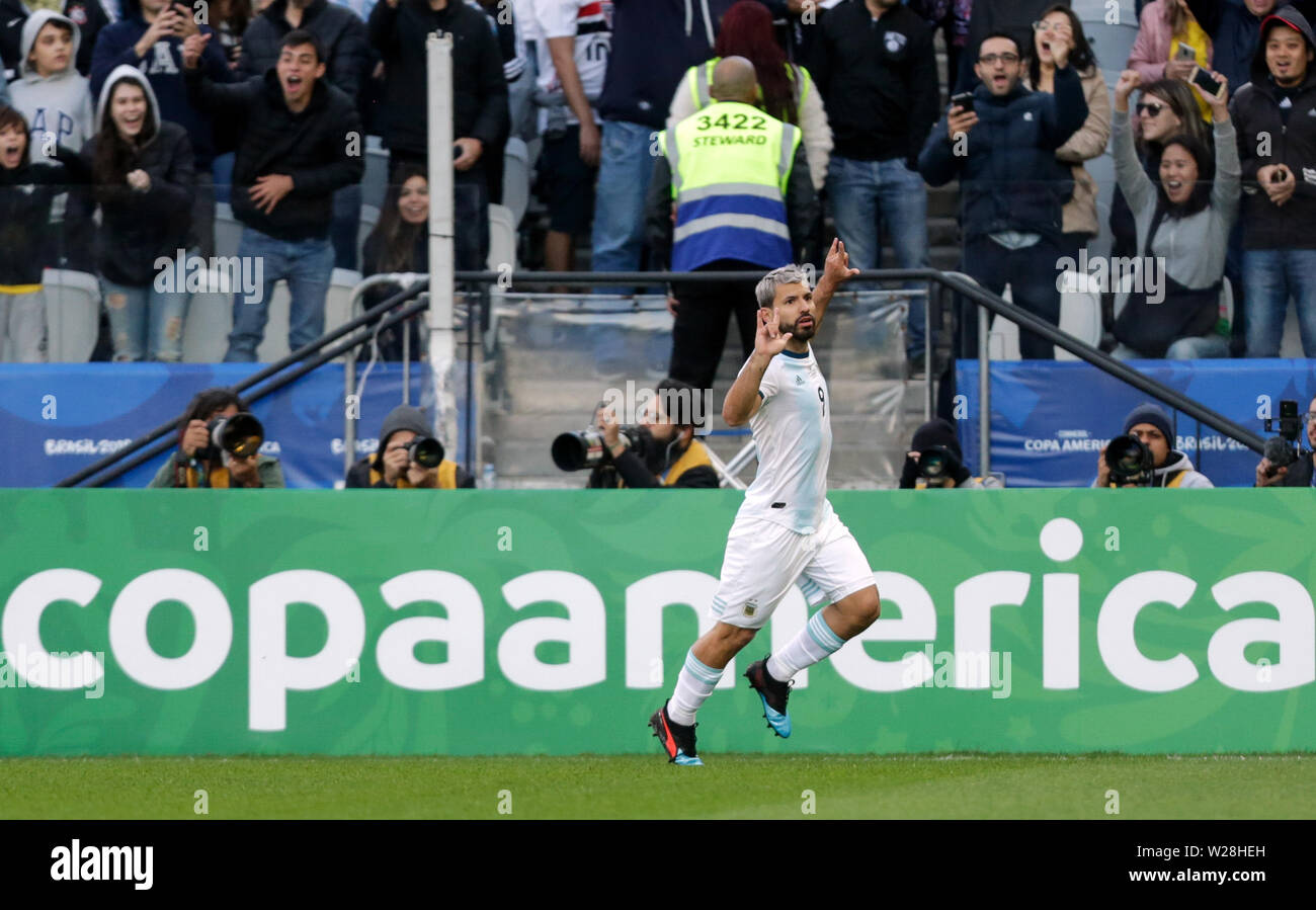 Sao Paulo, Brazil. 6th July, 2019. Argentina's Sergio Aguero celebrates after scoring during the 3rd place match of Copa America 2019 between Argentina and Chile in Sao Paulo, Brazil, July 6, 2019. Credit: Francisco Canedo/Xinhua/Alamy Live News - Stock Image