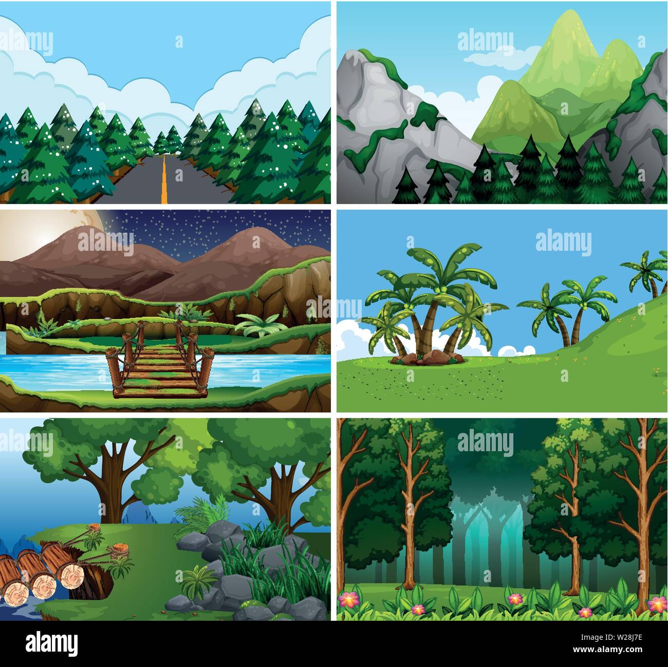 Large set of outdoor scene illustration - Stock Vector