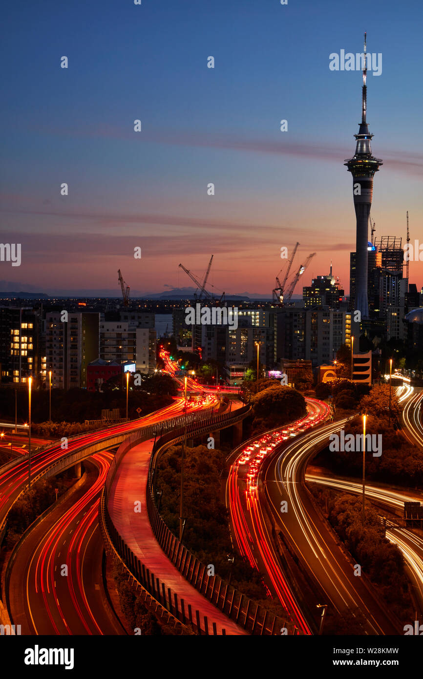 Motorways, Lightpath cycleway, and Sky Tower, Auckland, North Island, New Zealand Stock Photo