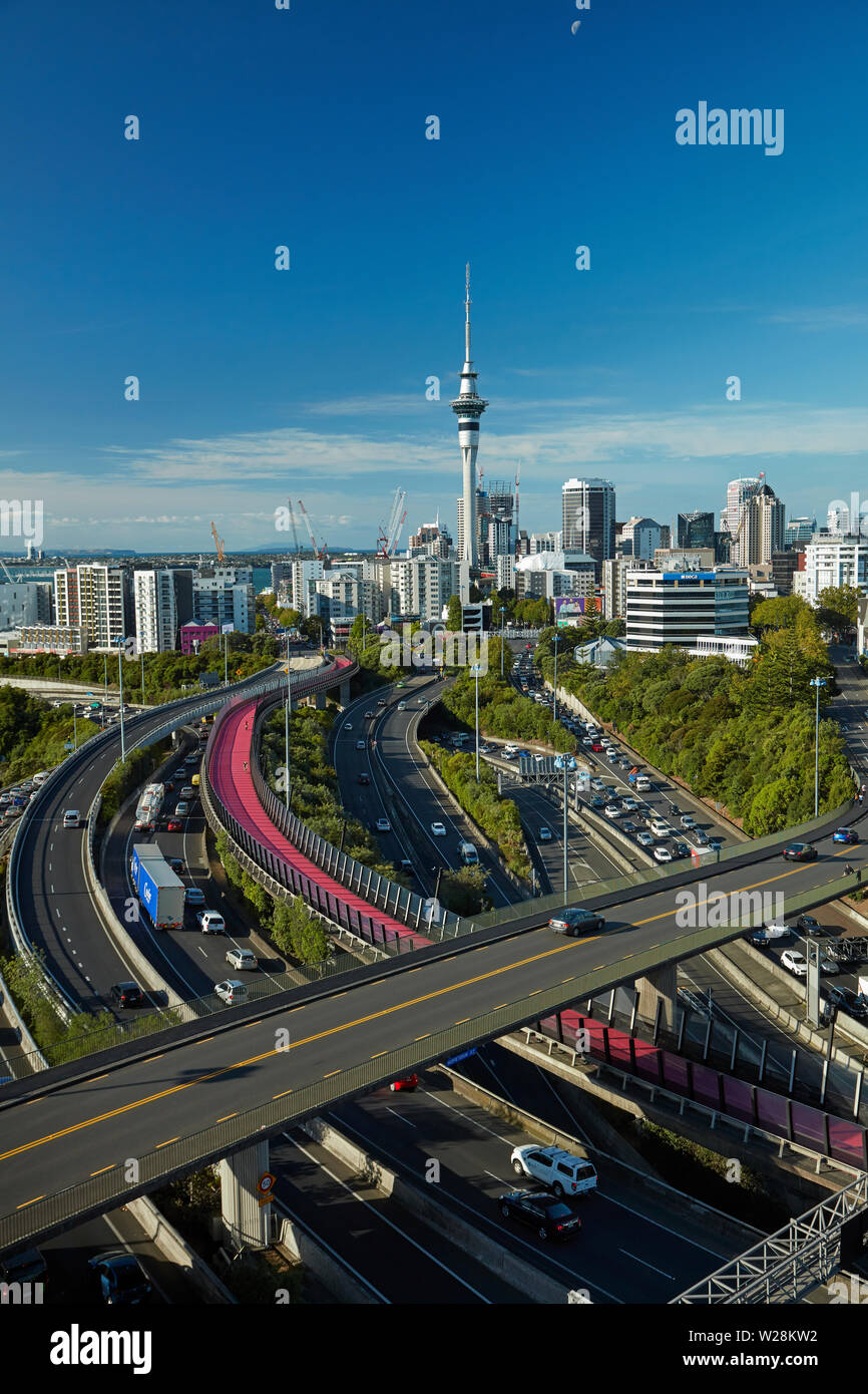 Motorways, Lightpath cycleway, and Sky Tower, Auckland, North Island, New Zealand - Stock Image