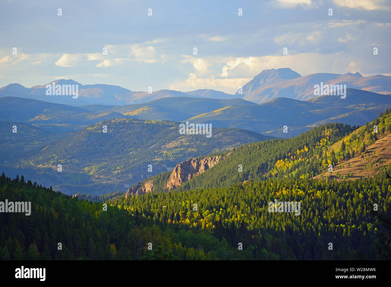Mt. Evans Wilderness Area in Colorado with Colorful Fall Leaves - Stock Image