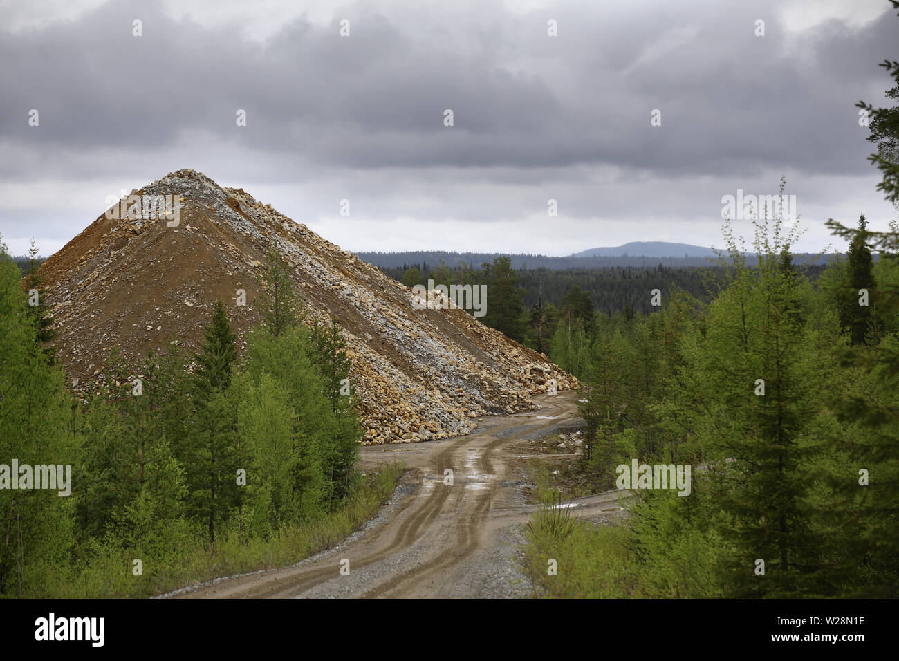 Rubble heap of gold and copper mine in Vasterbotten, Sweden. Stock Photo
