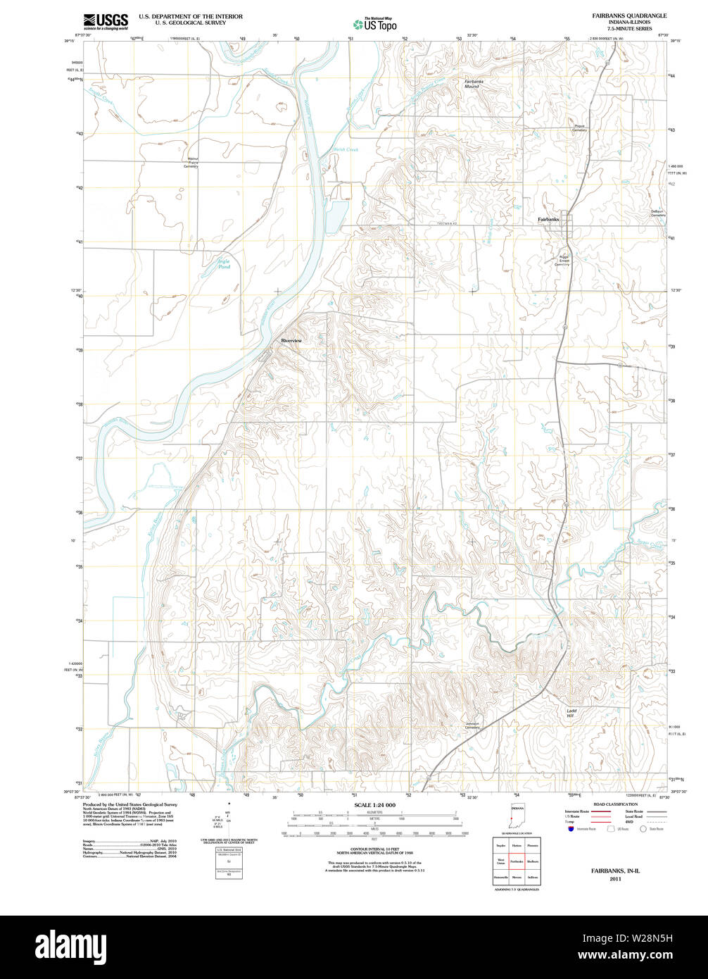 USGS TOPO Map Indiana IN Fairbanks 20111012 TM Restoration Stock Photo