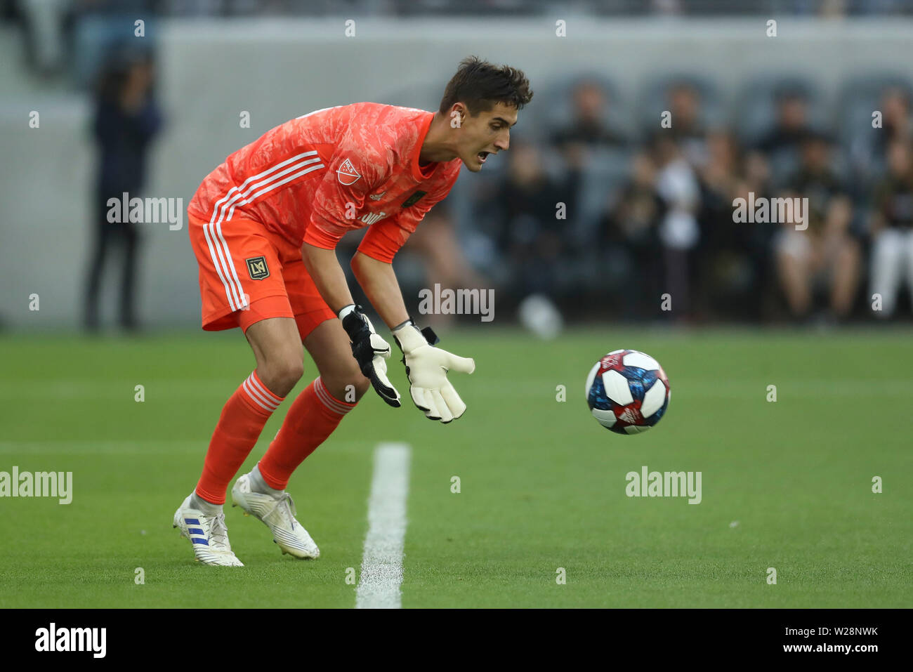 Los Angeles, CA, USA. 6th July, 2019. Los Angeles FC goalkeeper Pablo Sisniega (23) collects a shot on goal during the game between Vancouver Whitecaps and Los Angeles FC at Banc of California Stadium in Los Angeles, CA., USA. (Photo by Peter Joneleit) Credit: csm/Alamy Live News Stock Photo