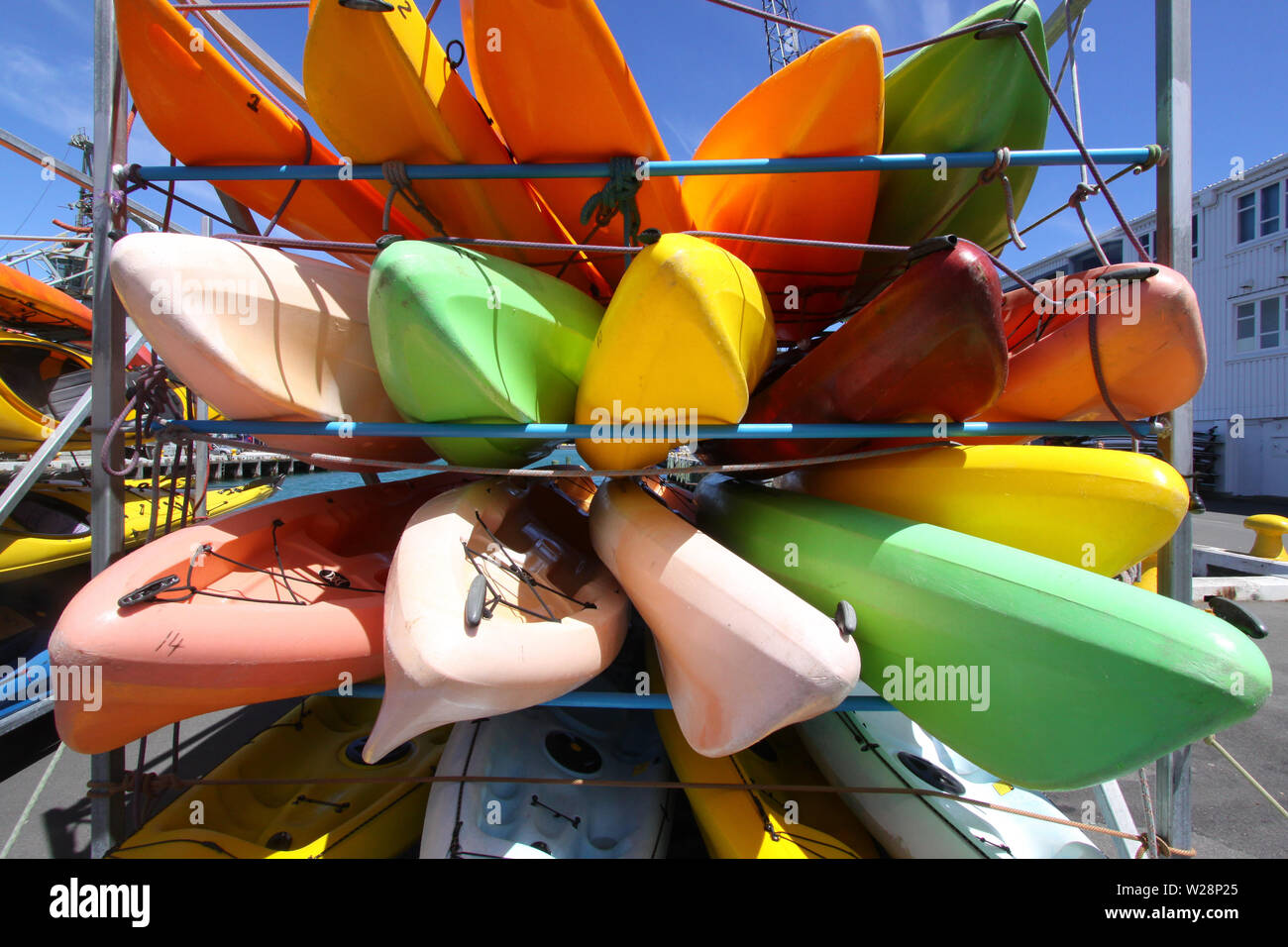 Stacked plastic canoes in the harbor of Wellington - Stock Image