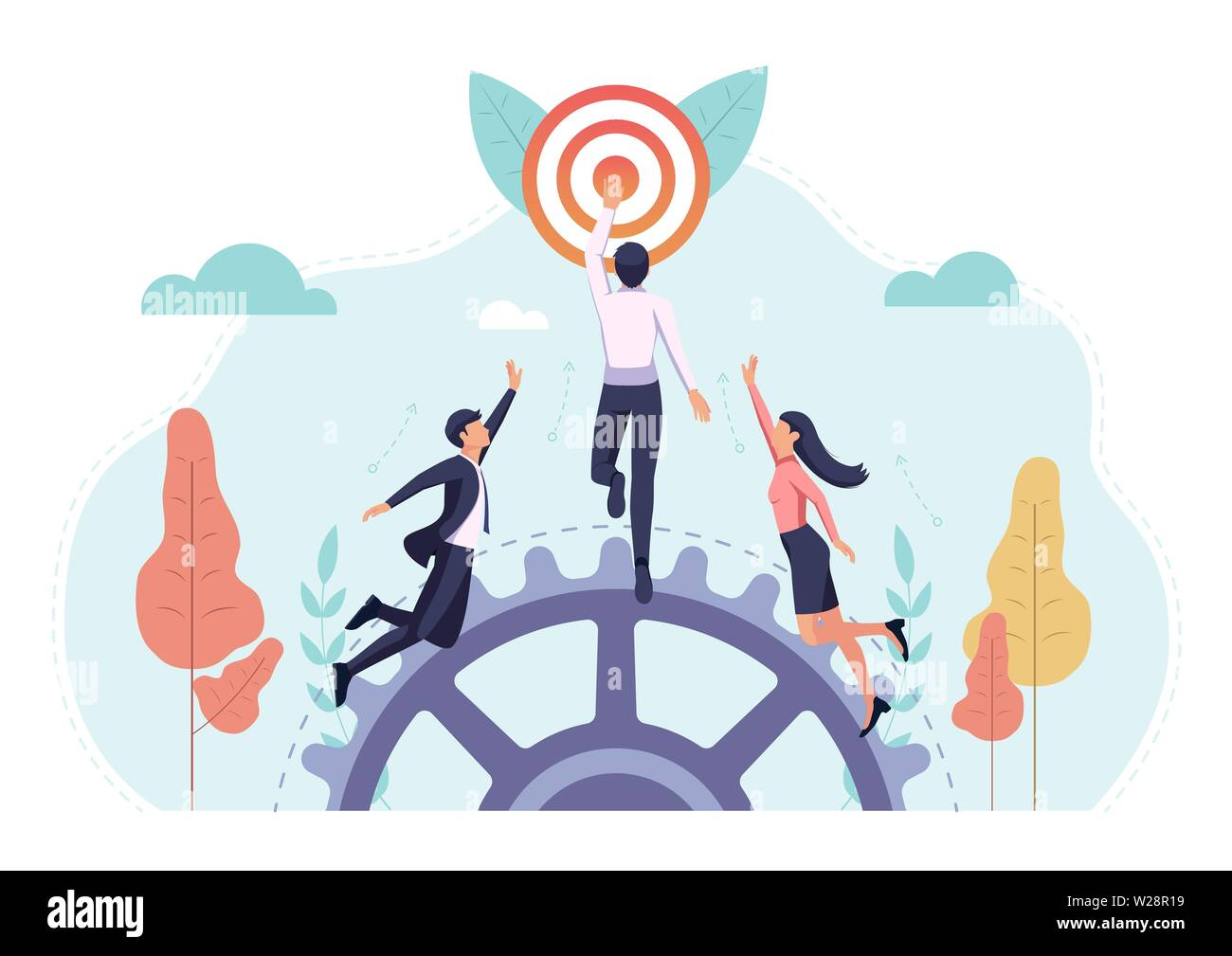 Business people race to reach the target first. Busienss target and competition cnocept. Stock Vector