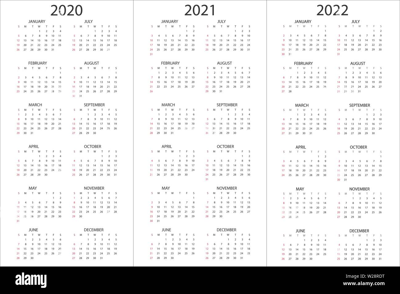 Calendar 2021-2022 Template Set of Calendars 2020, 2021, 2022 years, simple design template