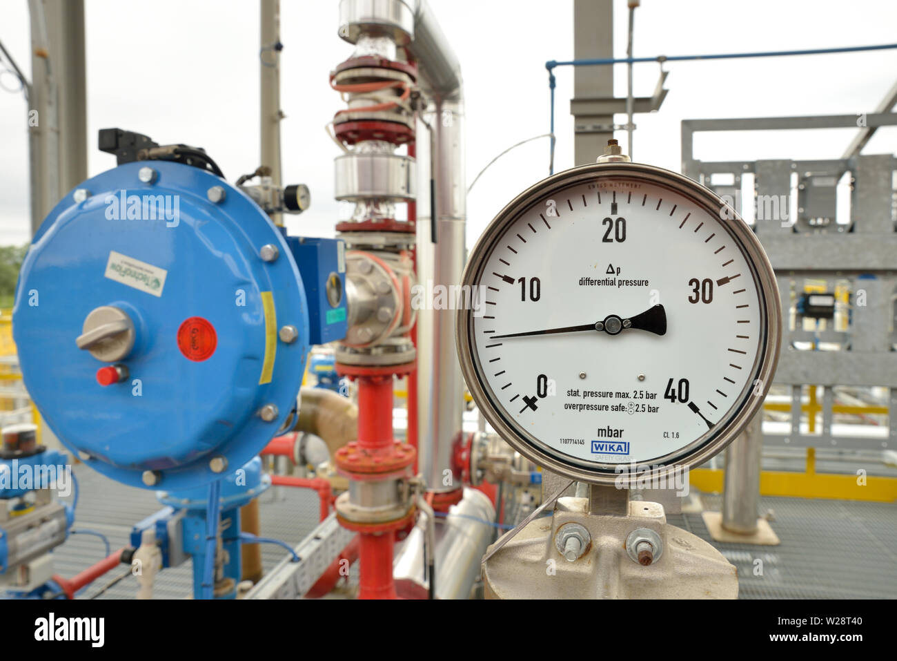 Pressure gauge in a pipeline control station - Stock Image