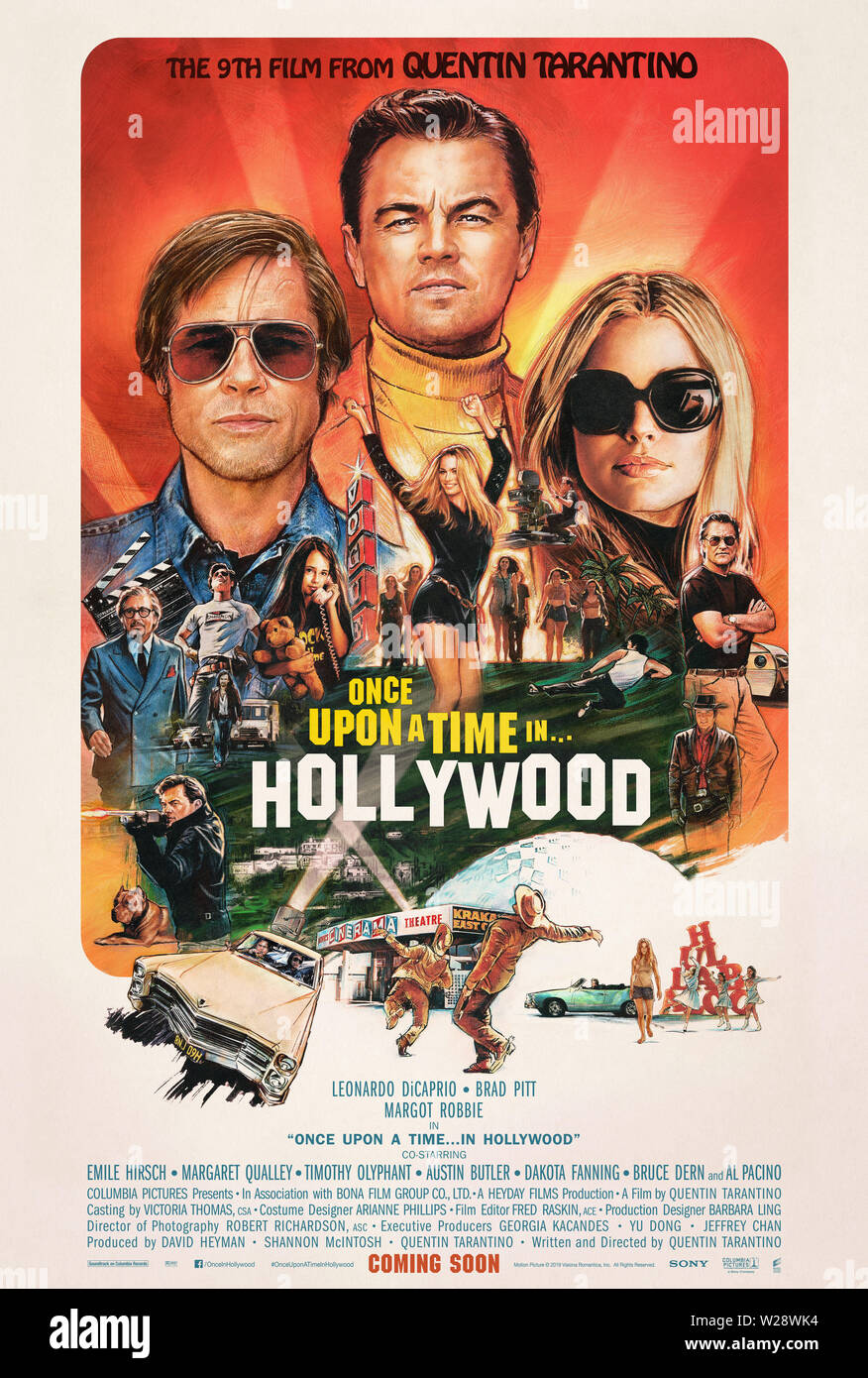 RELEASE DATE: August 9, 2019 TITLE: Once Upon a Time in Hollywood STUDIO: Columbia Pictures DIRECTOR: Quentin Tarantino PLOT: A TV actor and his stunt double embark on an odyssey to make a name for themselves in the film industry during the Charles Manson murders in 1969 Los Angeles. STARRING: Brad Pitt, Leonardo DiCaprio and Margot Robbie poster art. (Credit Image: © Columbia Pictures/Entertainment Pictures) - Stock Image