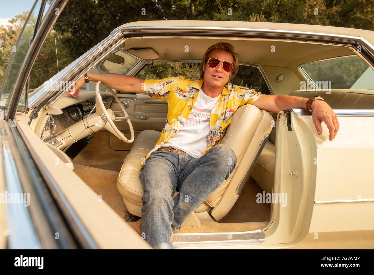 RELEASE DATE: August 9, 2019 TITLE: Once Upon a Time in Hollywood STUDIO: Columbia Pictures DIRECTOR: Quentin Tarantino PLOT: A TV actor and his stunt double embark on an odyssey to make a name for themselves in the film industry during the Charles Manson murders in 1969 Los Angeles. STARRING: BRAD PITT as Cliff Booth. (Credit Image: © Columbia Pictures/Entertainment Pictures) - Stock Image