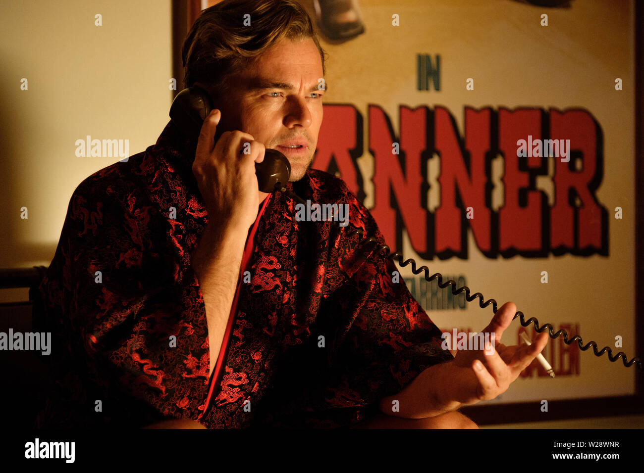 RELEASE DATE: August 9, 2019 TITLE: Once Upon a Time in Hollywood STUDIO: Columbia Pictures DIRECTOR: Quentin Tarantino PLOT: A TV actor and his stunt double embark on an odyssey to make a name for themselves in the film industry during the Charles Manson murders in 1969 Los Angeles. STARRING: LEONARDO DICAPRIO as Rick Dalton. (Credit Image: © Columbia Pictures/Entertainment Pictures) - Stock Image