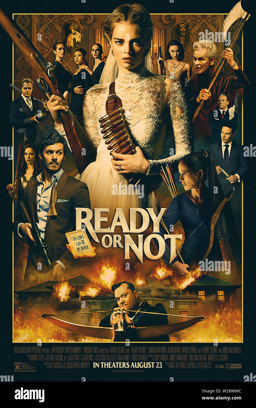 RELEASE DATE: August 23, 2019 TITLE: Ready Or Not STUDIO: Fox Searchlight Pictures DIRECTOR: Matt Bettinelli-Olpin, Tyler Gillett PLOT: A bride's wedding night takes a sinister turn when her eccentric new in-laws force her to take part in a terrifying game. STARRING: SAMARA WEAVING as Grace poster art. (Credit Image: © Fox Searchlight Pictures/Entertainment Pictures) Stock Photo