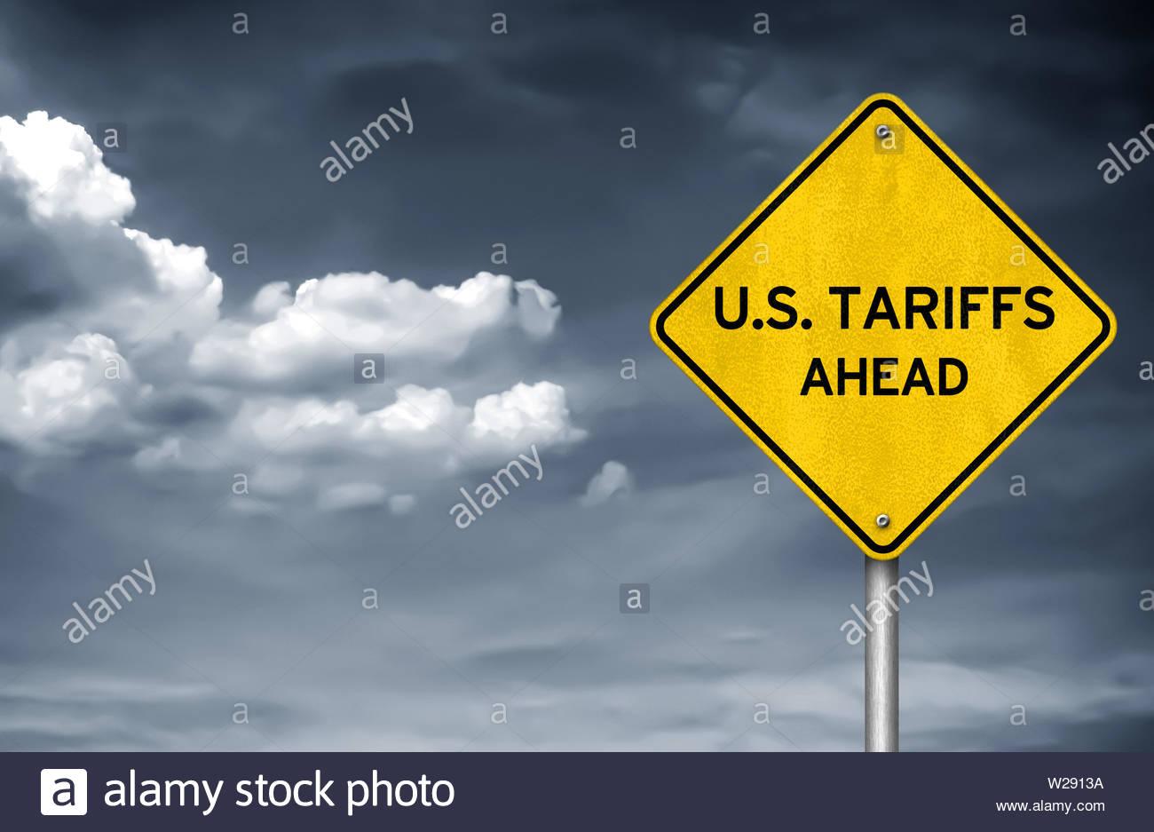 US Tariffs ahead - road sign illustration - Stock Image