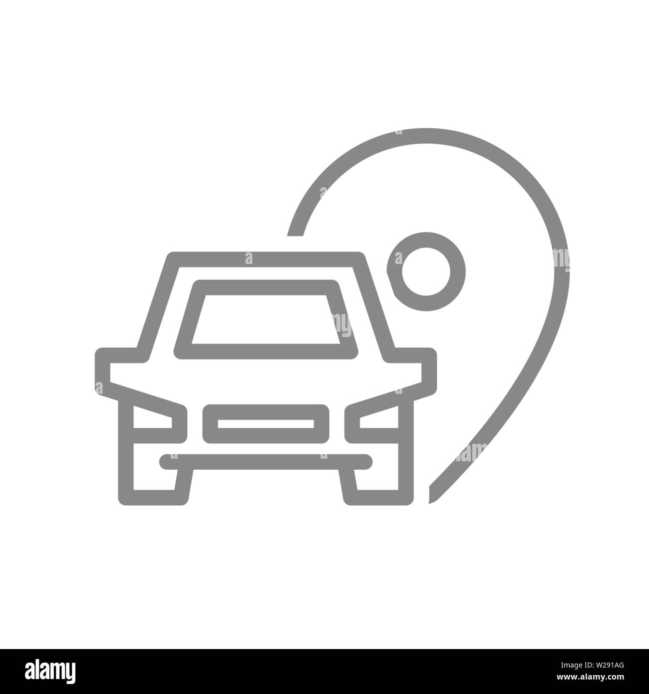Location pin with car line icon. Parking symbol and sign - Stock Image
