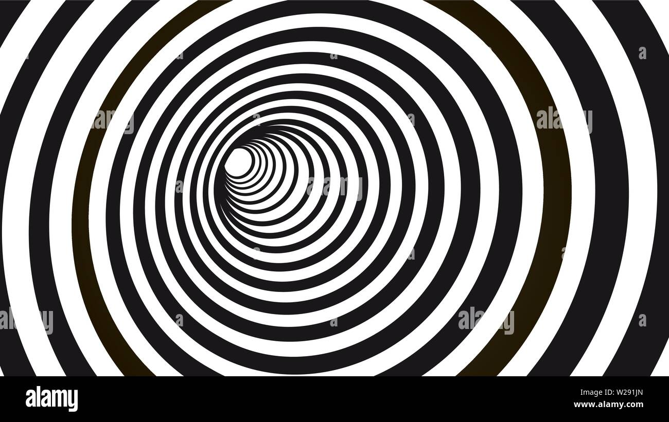 Geometric hypnotic spiral. Black and white striped optical illusion illustration. Geometrical wormhole shape pattern. Stock Vector