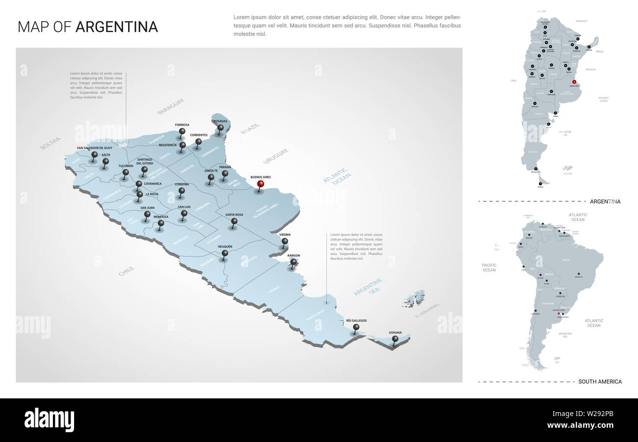 Vector set of Argentina country.  Isometric 3d map, Argentina map, South America map - with region, state names and city names. Fonts : Myriad Pro, Ro - Stock Image