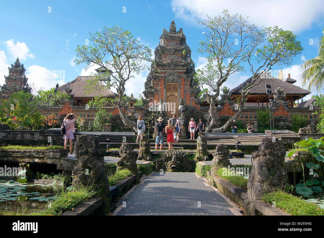 Ubud, Bali, Indonesia - 5th May 2019 : View of the beautiful Pura Taman Saraswati temple (also know as Ubud Water Palace) one of the most important to - Stock Image