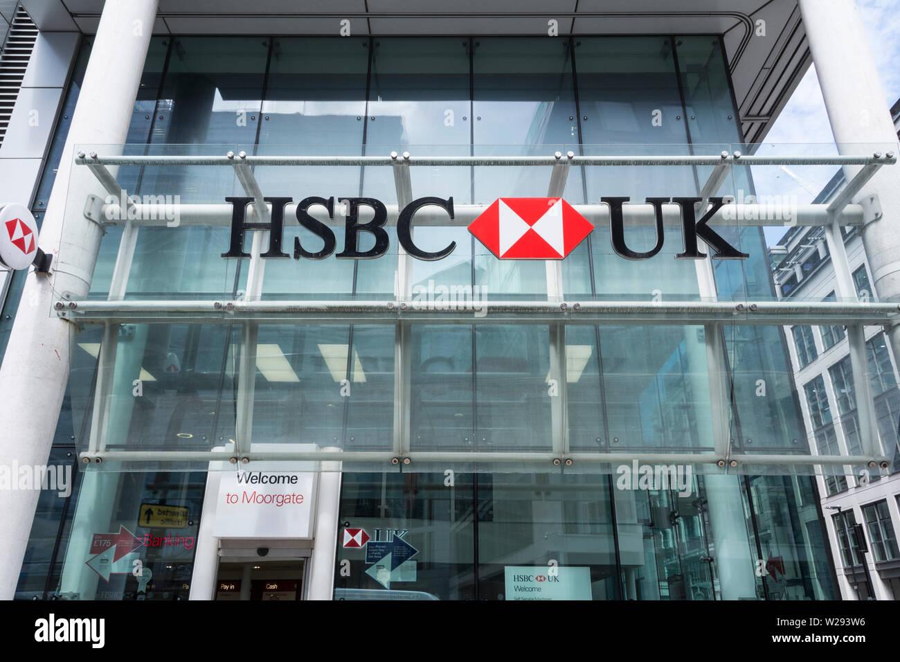 Signage outside HSBC bank, City of London, London, UK Stock