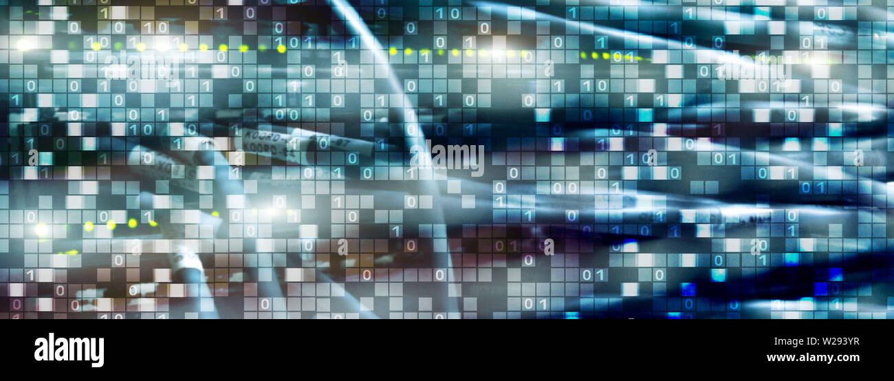 Binary code on datacenter background. Cyber space concept. UniqueTechnology Wallpaper. - Stock Image
