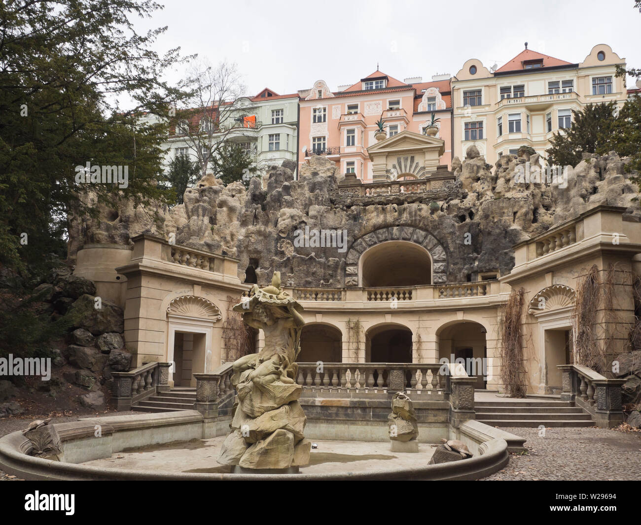 Grotta, an art nouveau style fountain construction in Havlíčkovy sady, the Havlicek Gardens in Prague in he Czech Republic Stock Photo