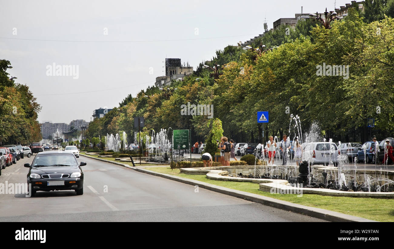 Bulevardul Unirii (Unification Boulevard) in Bucharest. Romania Stock Photo