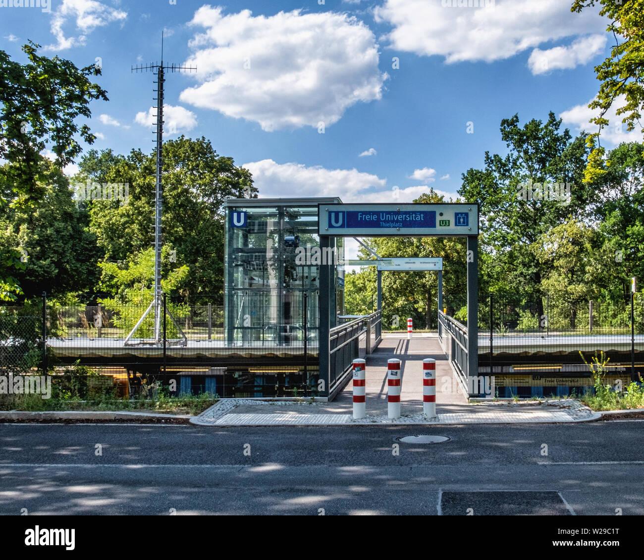 Freie Universität Thielplatz U-bahn underground railway station serves U3 line. Lift to platform - Stock Image
