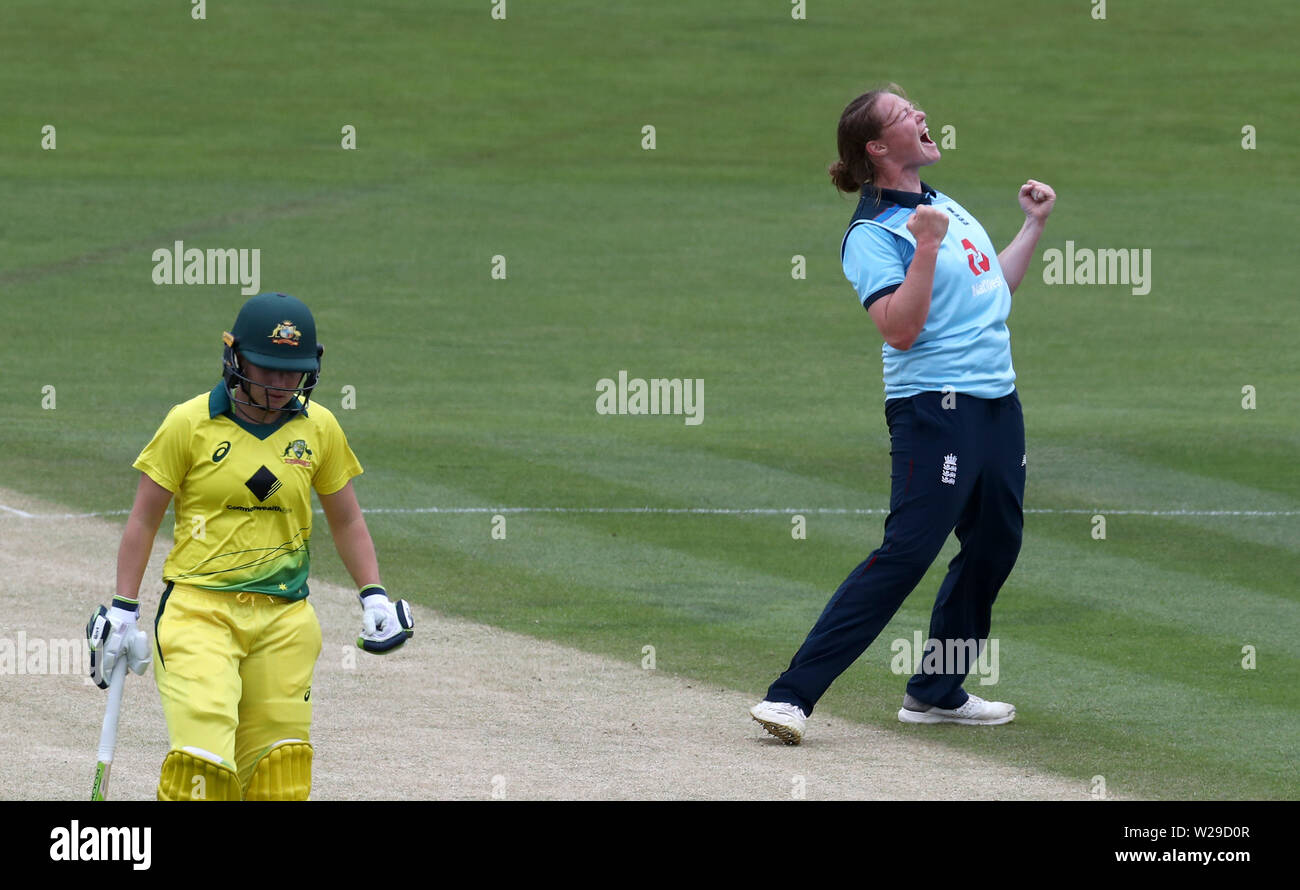 England's Anya Shrubsole (right) celebrates taking the wicket of Australia's Nicole Bolton during the Third One Day International of the Women's Ashes Series at The Spitfire Ground, Canterbury. - Stock Image
