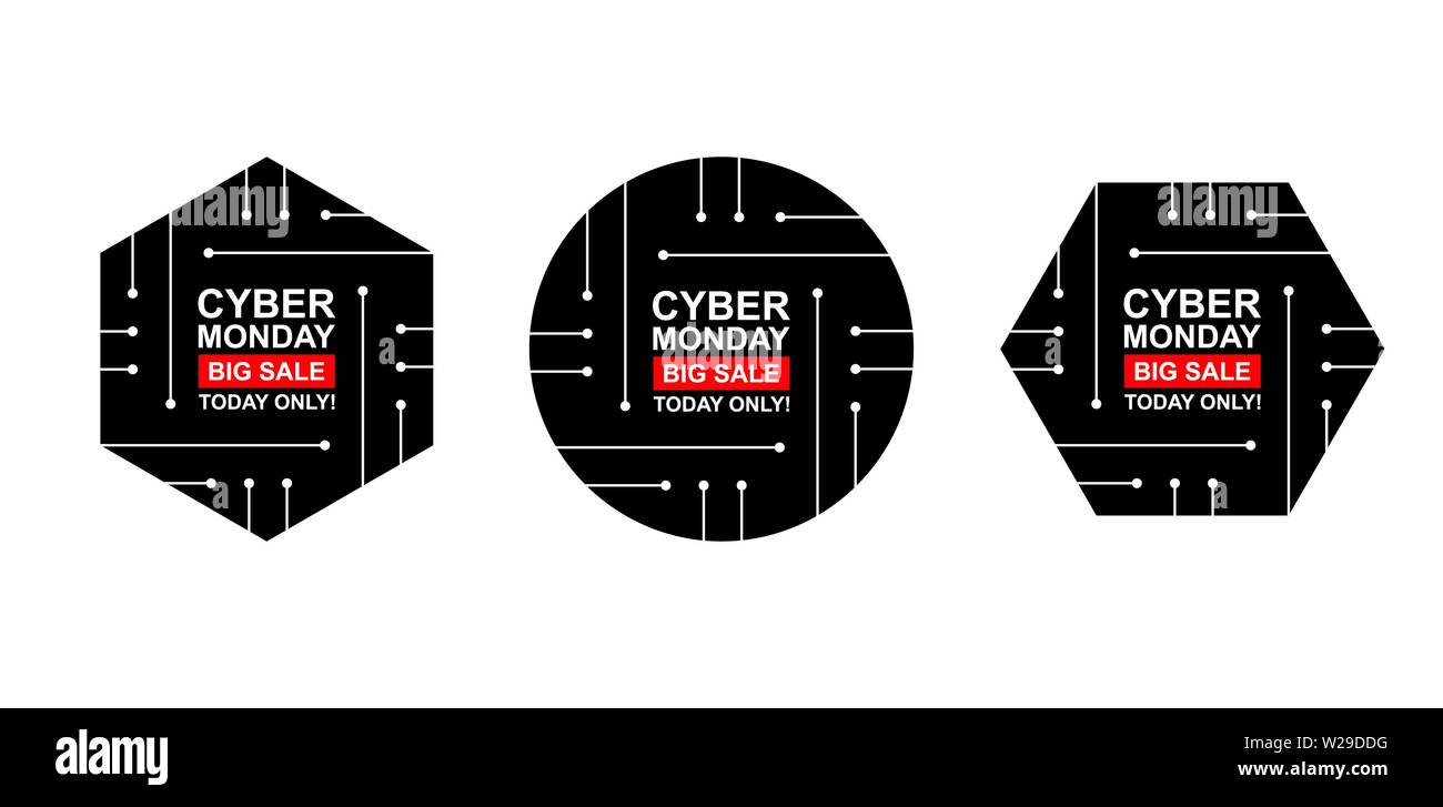 Cyber monday sale labels set  Collection of three stickers