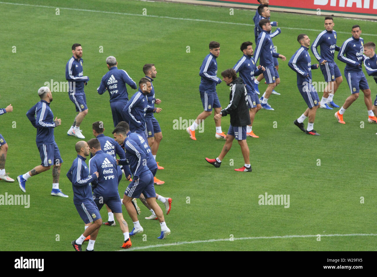 Brazil. 05th July, 2019. Argentina's training at Pacaembu Stadium this Friday morning before the match for third place in the 2019 Copa America against the Chilean team. Credit: Niyi Fote/Thenews2/Pacific Press/Alamy Live News - Stock Image