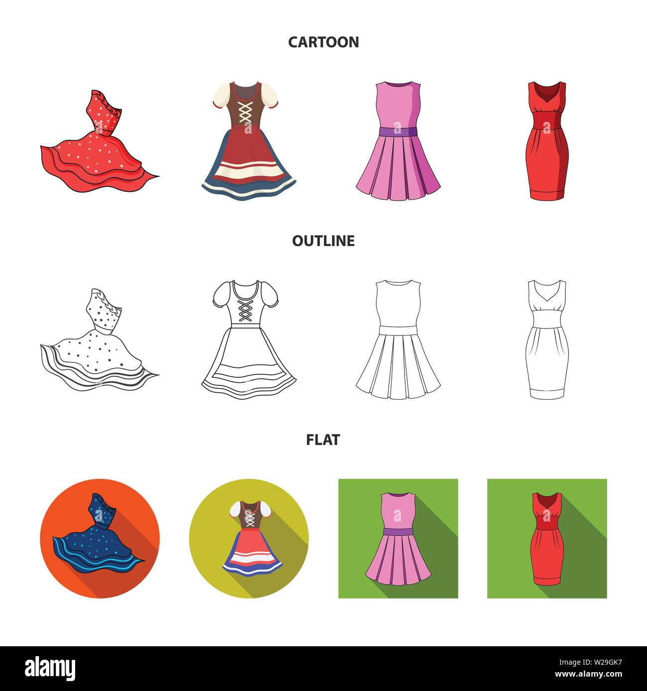Vector design of dress and clothes sign. Set of dress and evening stock vector illustration. - Stock Vector