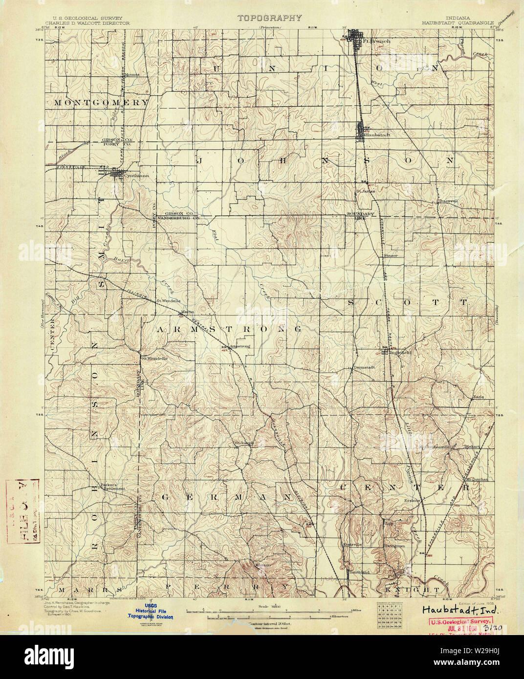 USGS TOPO Map Indiana IN Haubstadt 160496 1903 62500 Restoration Stock Photo