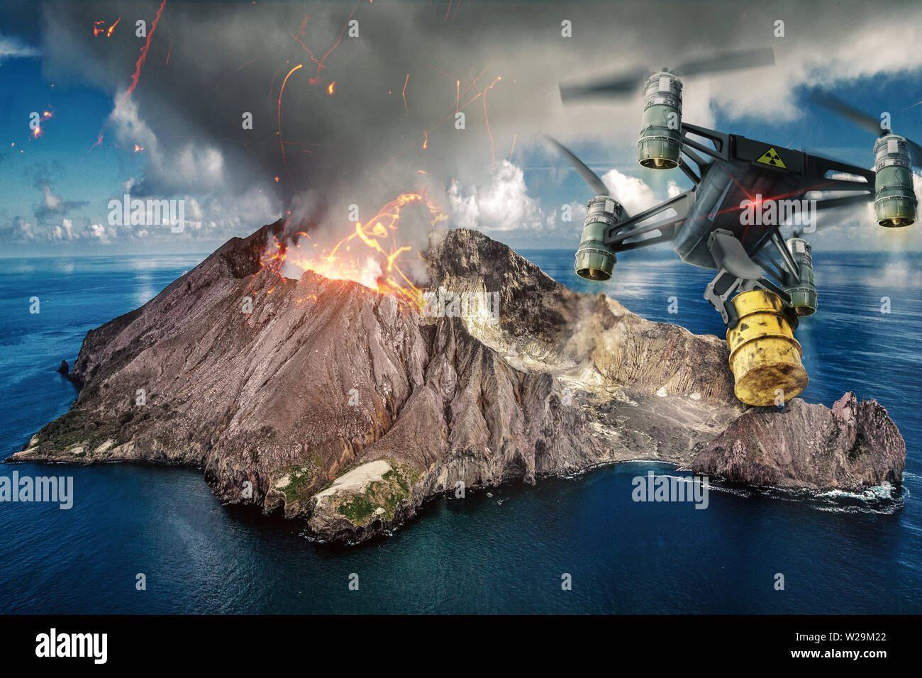 a drone transports its dangerous cargo to a volcano - 3D-Illustration - Stock Image