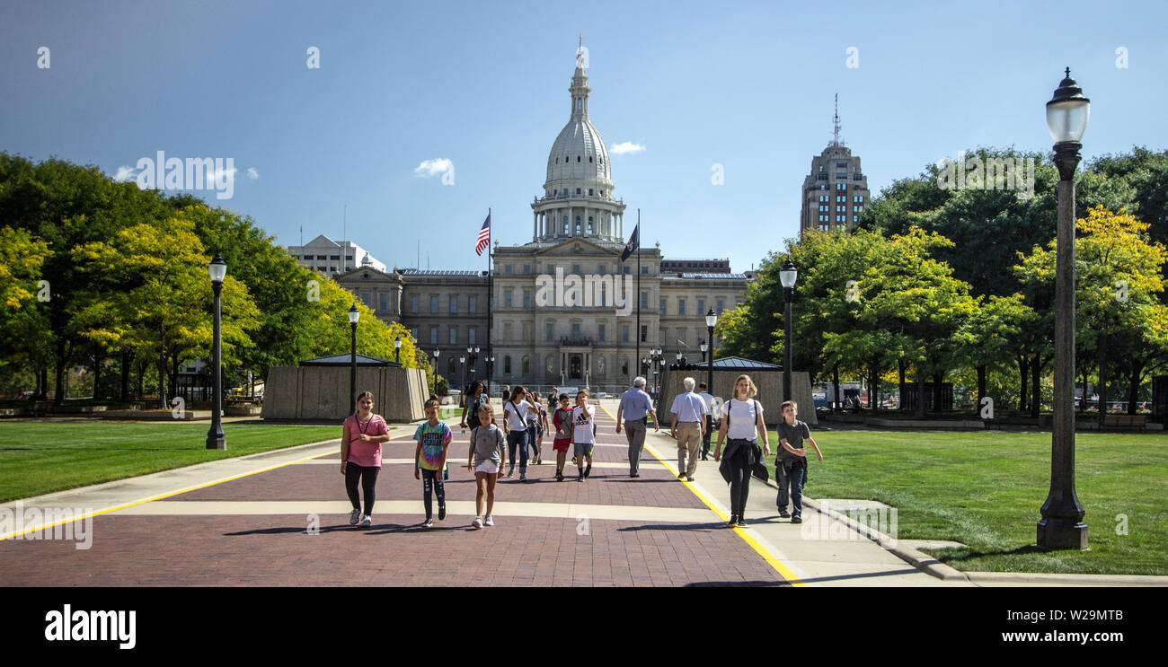 Lansing, Michigan, USA - Exterior of the Michigan State Capital building and campus in downtown Lansing, Michigan. Stock Photo