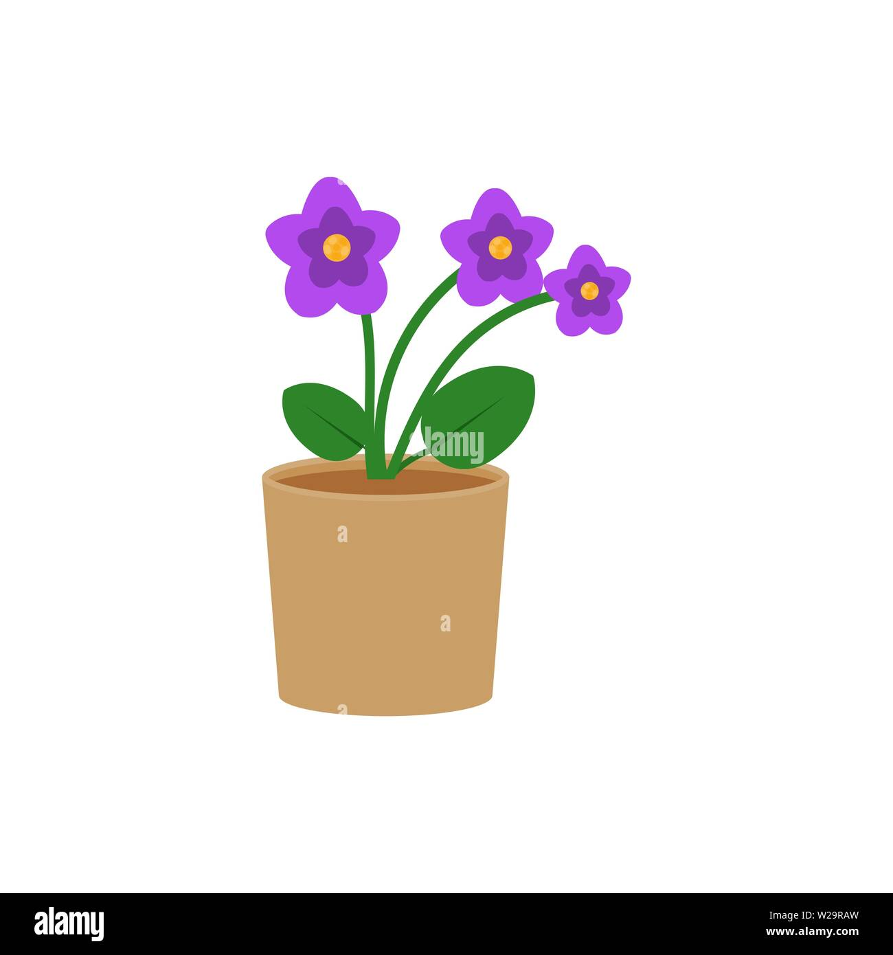 Violet Flower In A Pot Flat Icon Indoor Plant Flower Vector Illustration Isolated On White Background Stock Vector Image Art Alamy