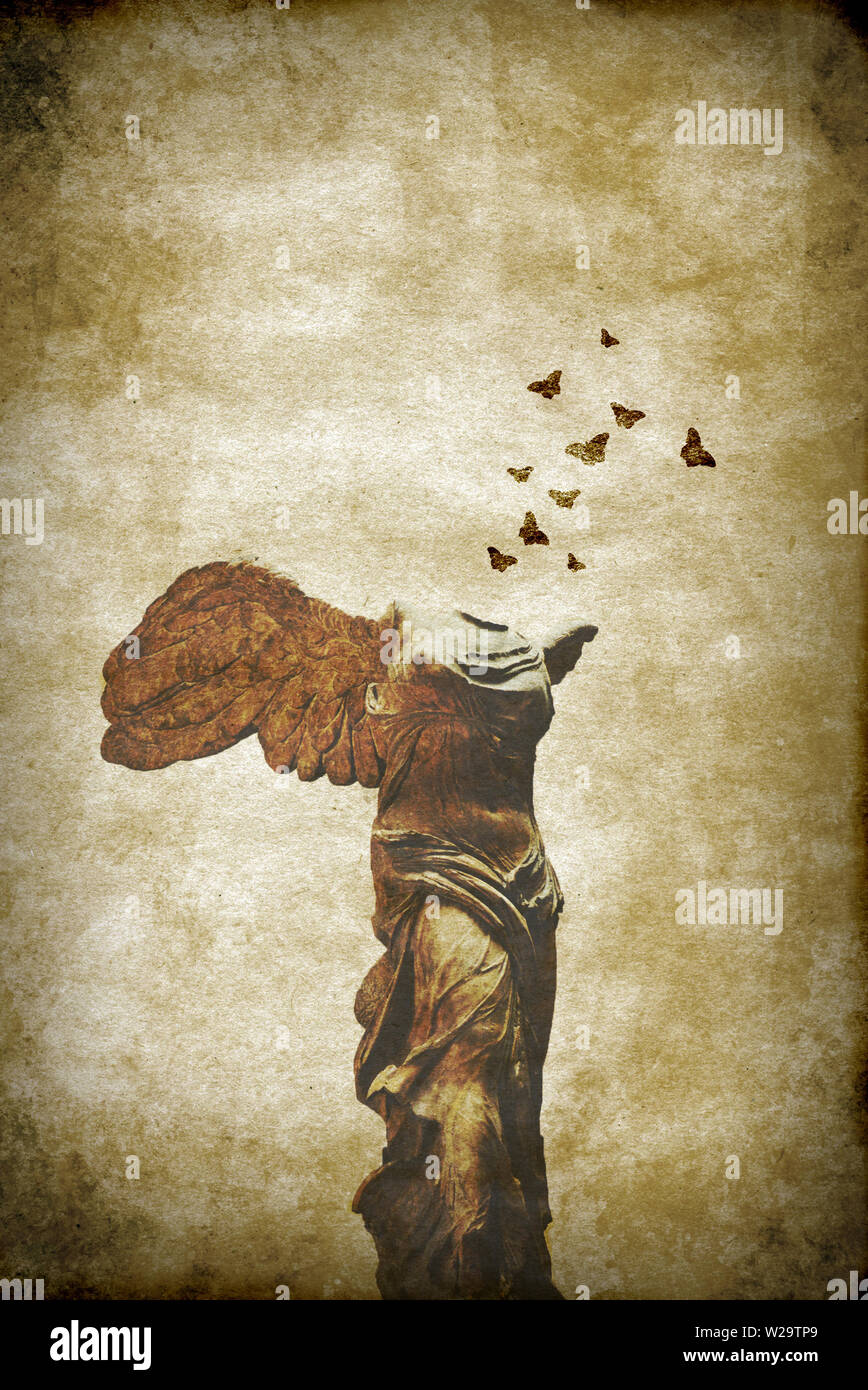 artistic composite of the winged victory of Samothrace or Nike of Samothrace with butterflies flying away - Stock Image
