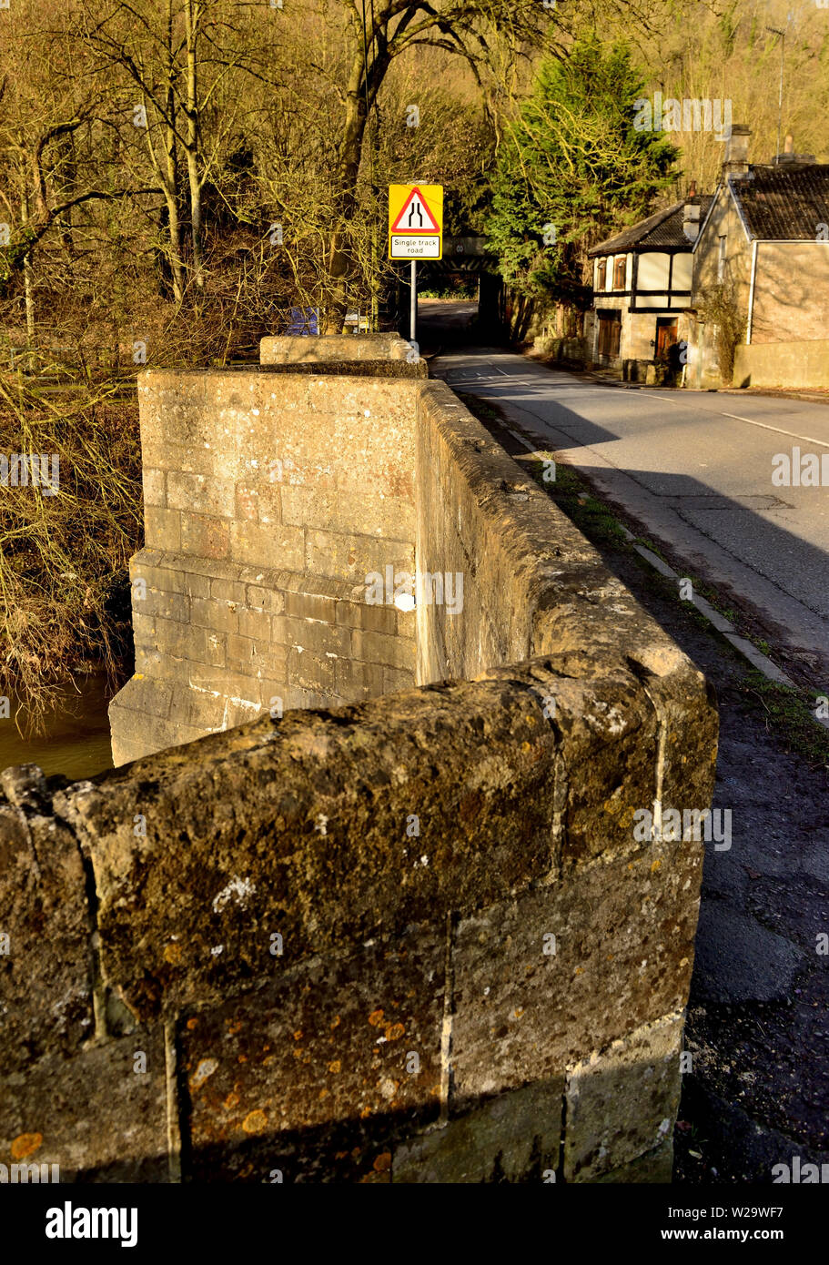 Pedestrian refuges on Stokeford Bridge over the river Avon at Limpley Stoke. - Stock Image