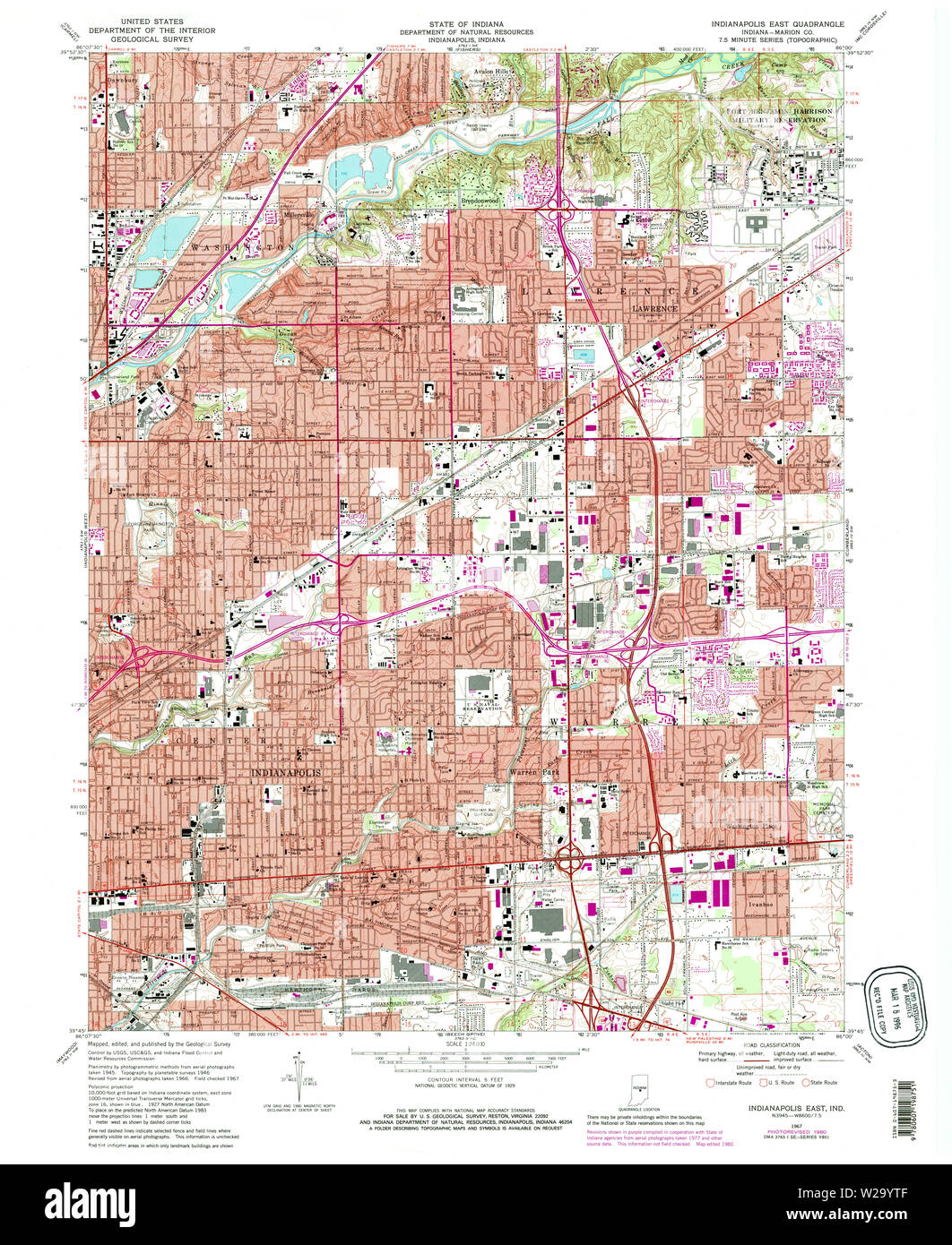 USGS TOPO Map Indiana IN Indianapolis East 159821 1967 24000 ... Indiana Department Of Natural Resources Maps on indiana division of reclamation, kentucky geological survey maps, wyoming department of transportation maps,