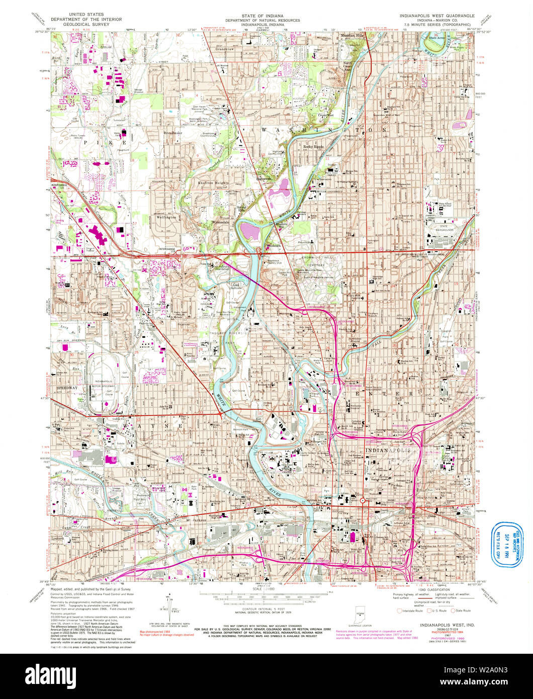 USGS TOPO Map Indiana IN Indianapolis West 159966 1967 24000