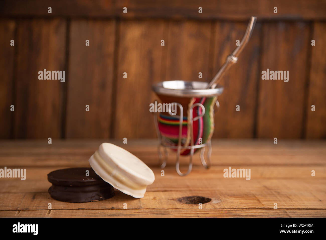 The alfajores are Argentine chocolate cakes and dcaramel - Stock Image